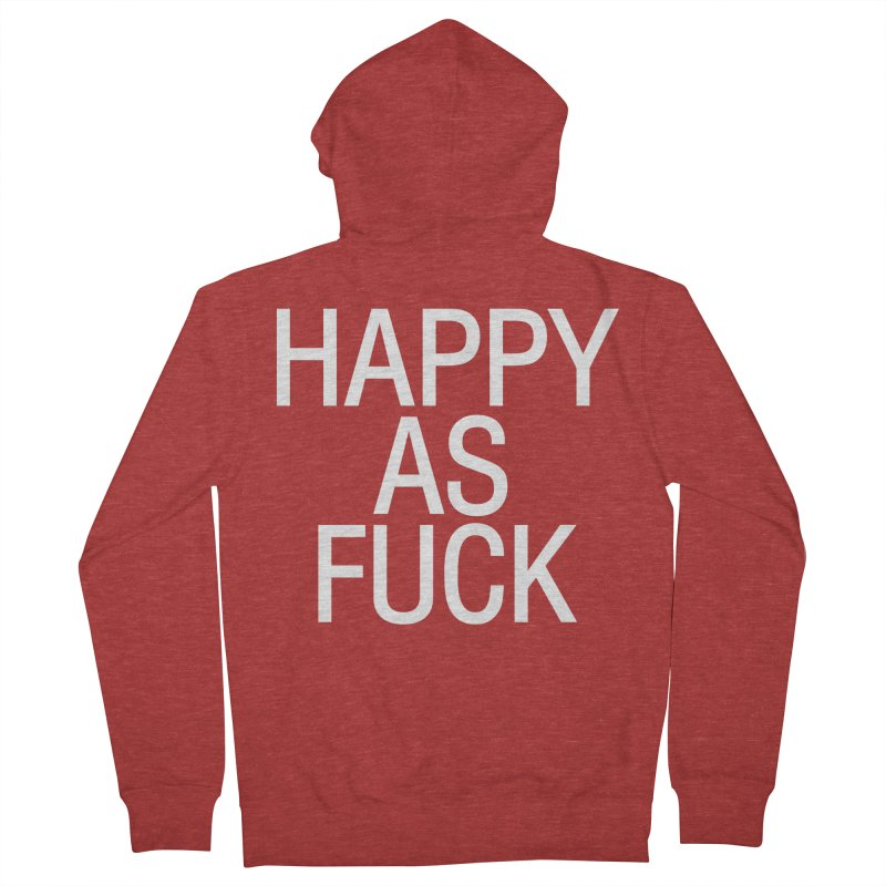 Happy as Fuck Women's French Terry Zip-Up Hoody by Washed Up Emo