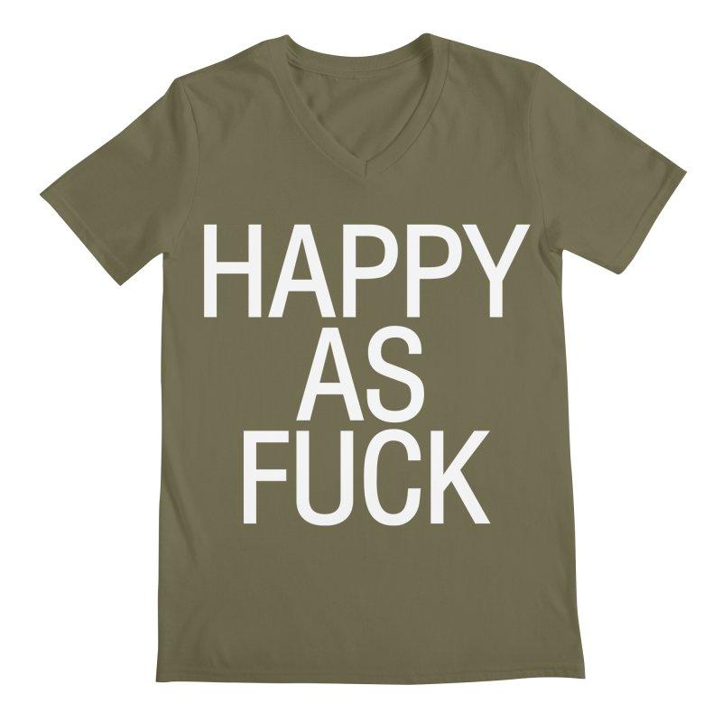 Happy as Fuck Men's Regular V-Neck by Washed Up Emo