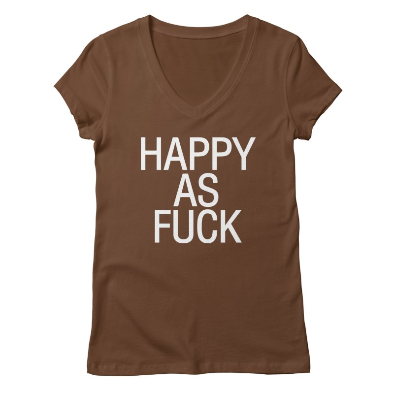 Happy as Fuck Women's Regular V-Neck by Washed Up Emo