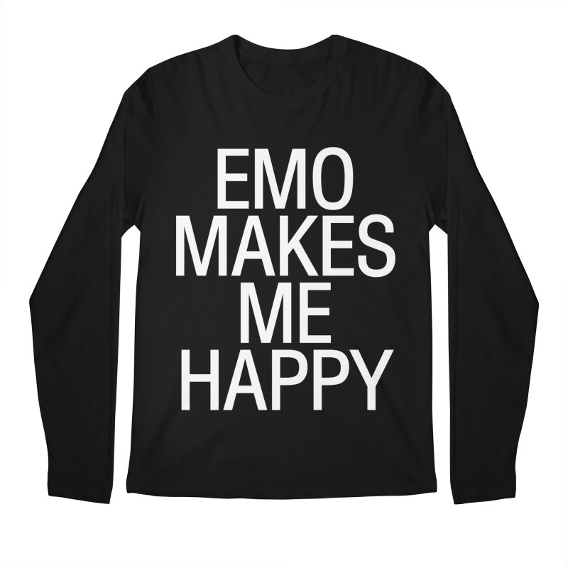 Emo Makes Me Happy Men's Regular Longsleeve T-Shirt by Washed Up Emo