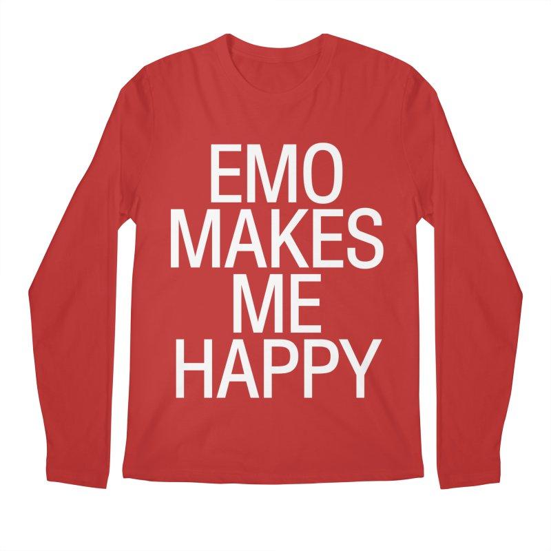 Emo Makes Me Happy Men's Regular Longsleeve T-Shirt by Washed Up Emo