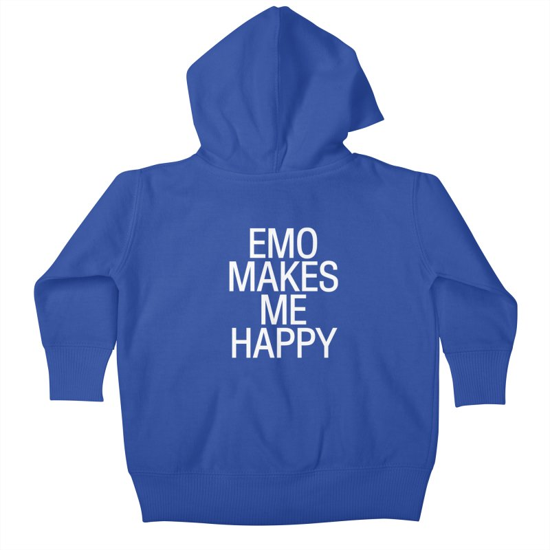 Emo Makes Me Happy Kids Baby Zip-Up Hoody by Washed Up Emo