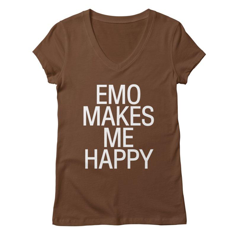 Emo Makes Me Happy Women's Regular V-Neck by Washed Up Emo