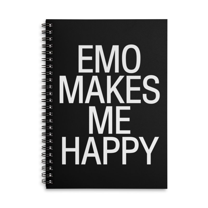 Emo Makes Me Happy Accessories Lined Spiral Notebook by Washed Up Emo