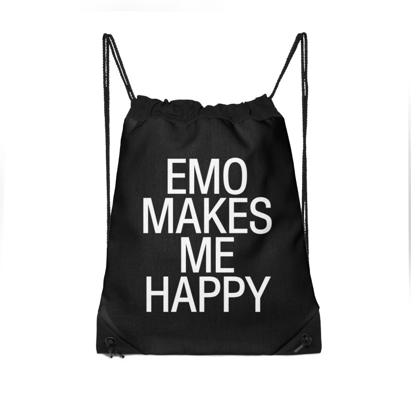 Emo Makes Me Happy Accessories Drawstring Bag Bag by Washed Up Emo