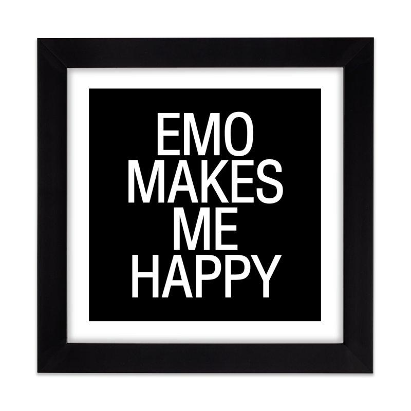 Emo Makes Me Happy Home Framed Fine Art Print by Washed Up Emo