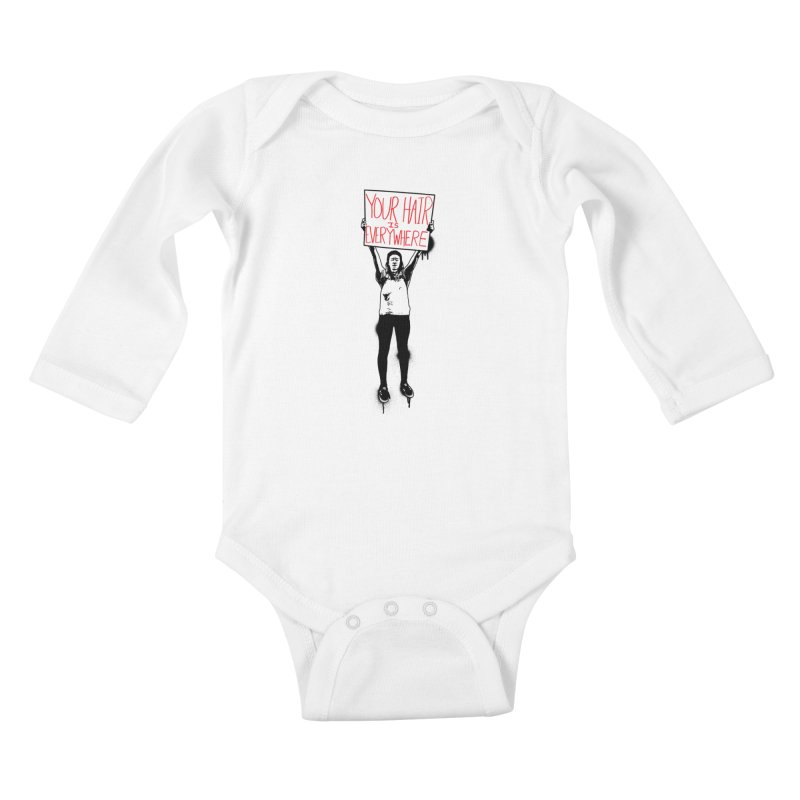 Trump Protester - Your Hair Is Everywhere  Kids Baby Longsleeve Bodysuit by Washed Up Emo