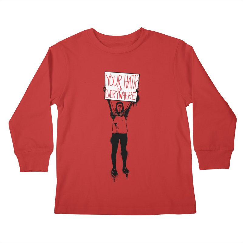 Trump Protester - Your Hair Is Everywhere  Kids Longsleeve T-Shirt by Washed Up Emo
