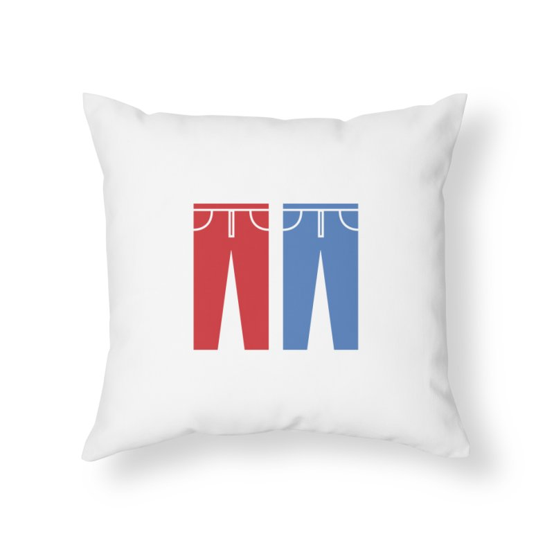 Red and Blue Jeans - Print Home Throw Pillow by Washed Up Emo