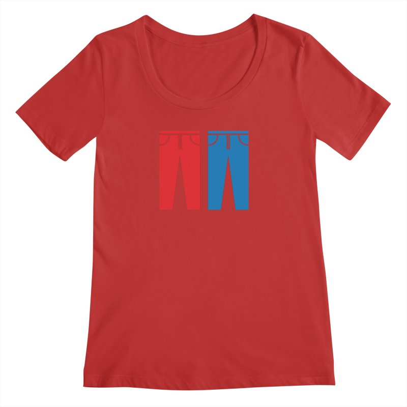 Red and Blue Jeans - Apparel  Women's Regular Scoop Neck by Washed Up Emo
