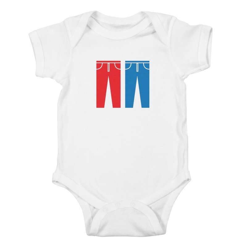 Red and Blue Jeans - Apparel  Kids Baby Bodysuit by Washed Up Emo