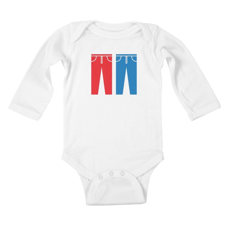 Red and Blue Jeans - Apparel  Kids Baby Longsleeve Bodysuit by Washed Up Emo