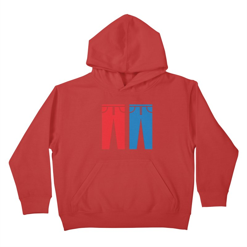 Red and Blue Jeans - Apparel  Kids Pullover Hoody by Washed Up Emo