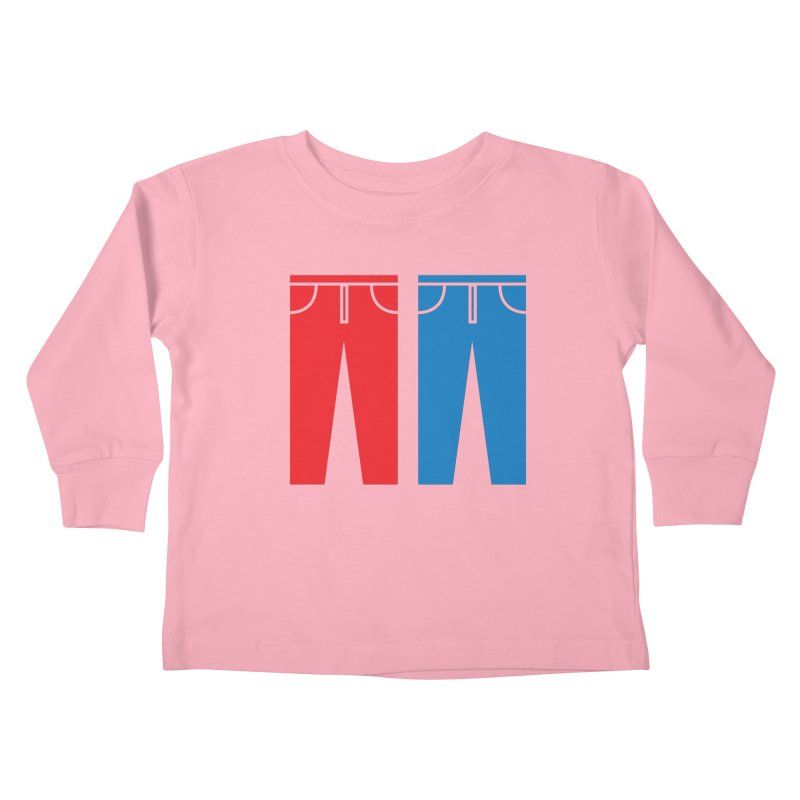 Red and Blue Jeans - Apparel  Kids Toddler Longsleeve T-Shirt by Washed Up Emo