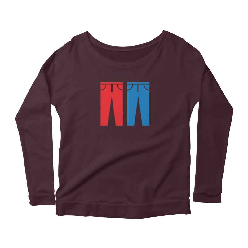 Red and Blue Jeans - Apparel  Women's Scoop Neck Longsleeve T-Shirt by Washed Up Emo