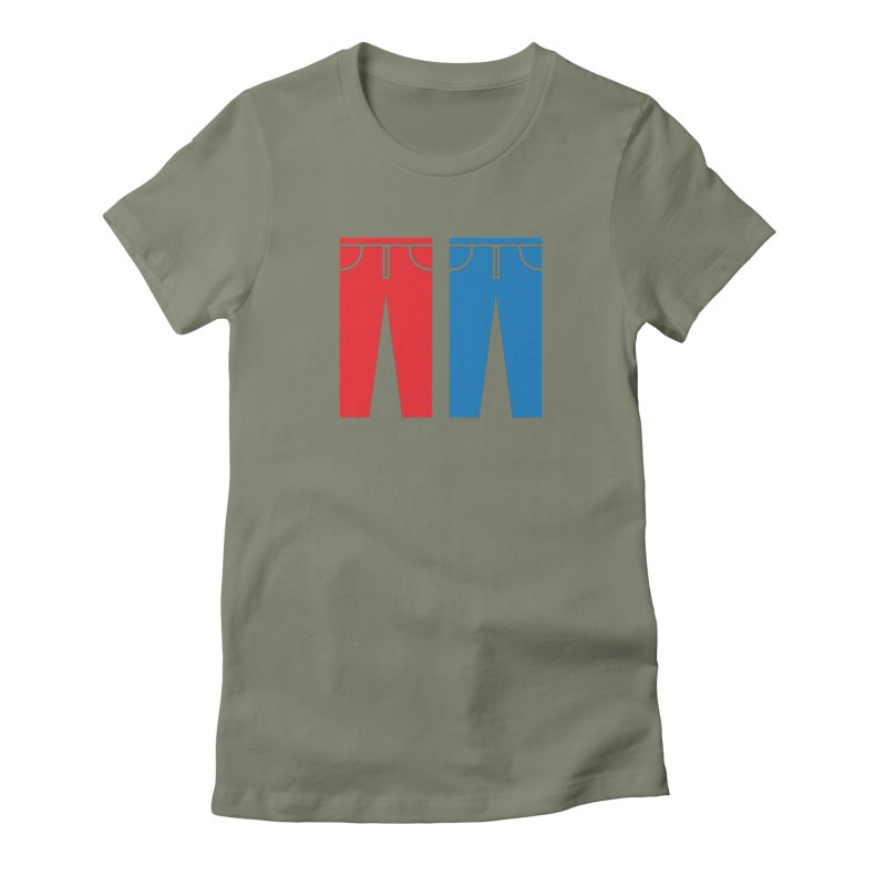 Red and Blue Jeans - Apparel  Women's Fitted T-Shirt by Washed Up Emo