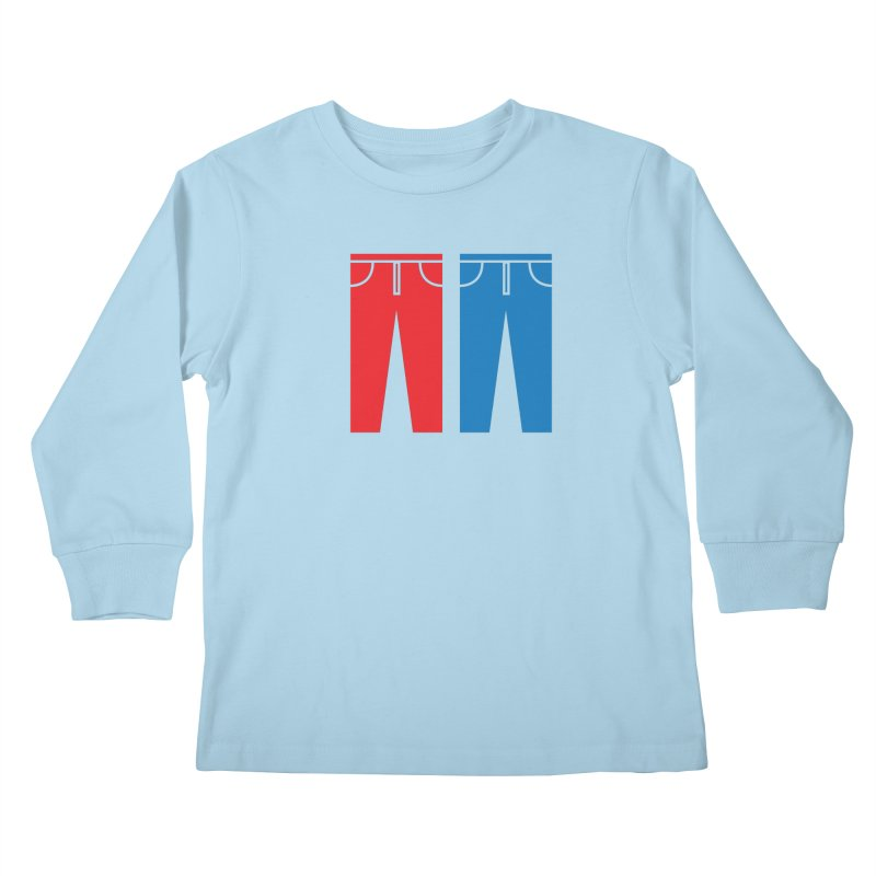 Red and Blue Jeans - Apparel  Kids Longsleeve T-Shirt by Washed Up Emo