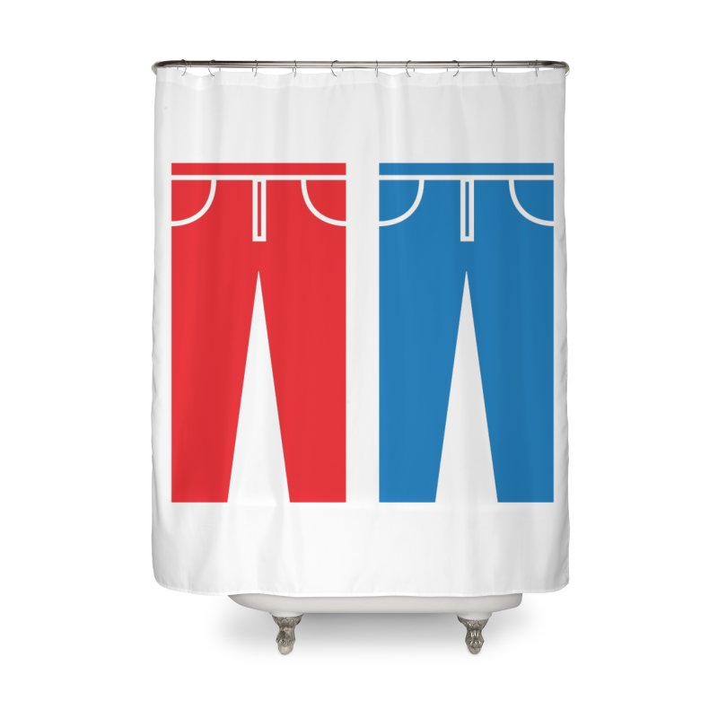 Red and Blue Jeans - Apparel  Home Shower Curtain by Washed Up Emo