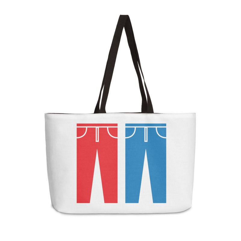 Red and Blue Jeans - Apparel  Accessories Weekender Bag Bag by Washed Up Emo