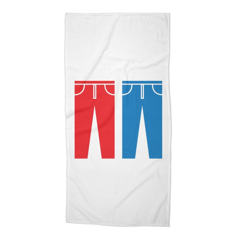Red and Blue Jeans - Apparel  Accessories Beach Towel by Washed Up Emo