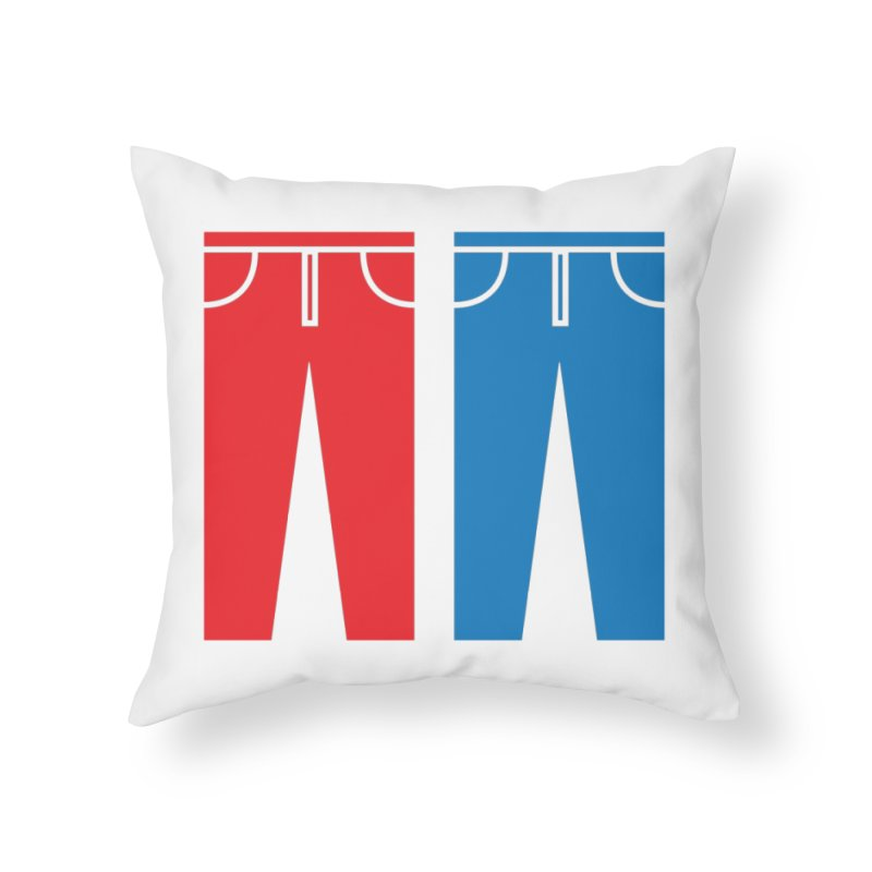 Red and Blue Jeans - Apparel  Home Throw Pillow by Washed Up Emo