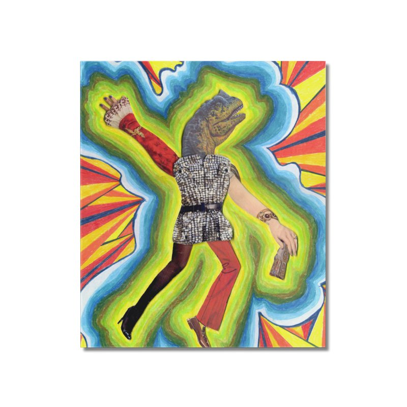 Dancing Disco Dino Home Mounted Acrylic Print by Was Now Creations