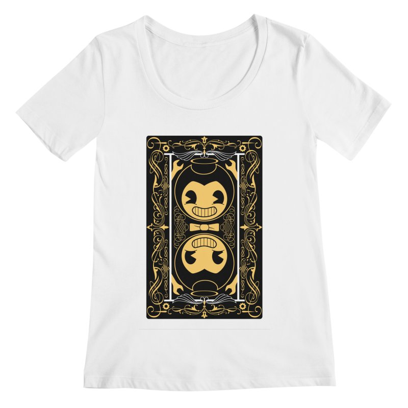 Bendy and the Ink Machine Playing Card Women's Regular Scoop Neck by WatchPony Clothing Collection