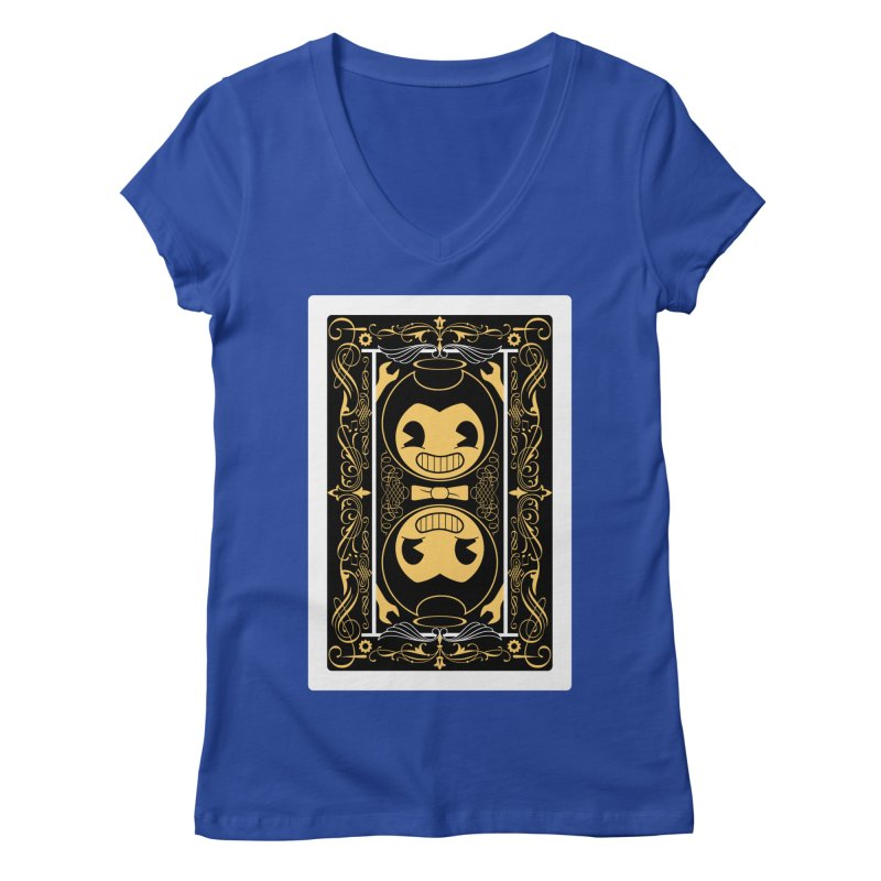 Bendy and the Ink Machine Playing Card Women's Regular V-Neck by WatchPony Clothing Collection