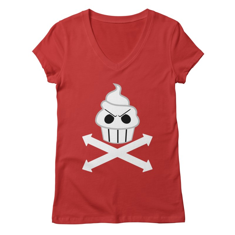 The Swirly Roger Women's Regular V-Neck by WatchPony Clothing Collection