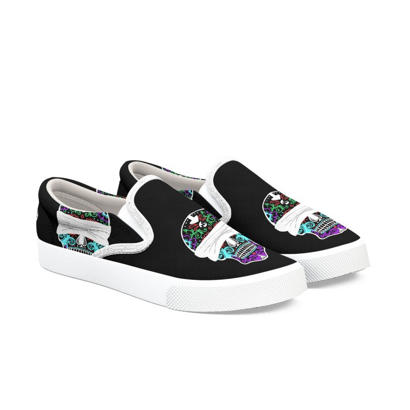 Calavera de Vista Men's Slip-On Shoes by WatchPony Clothing Collection