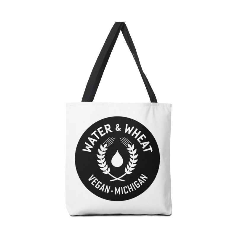 WW Vegan Michigan Logo  White on Black Accessories Bag by Water and Wheat's Artist Shop