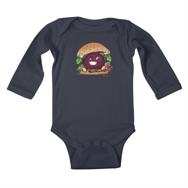 Pete The Beet Kids Baby Longsleeve Bodysuit by Water and Wheat's Artist Shop