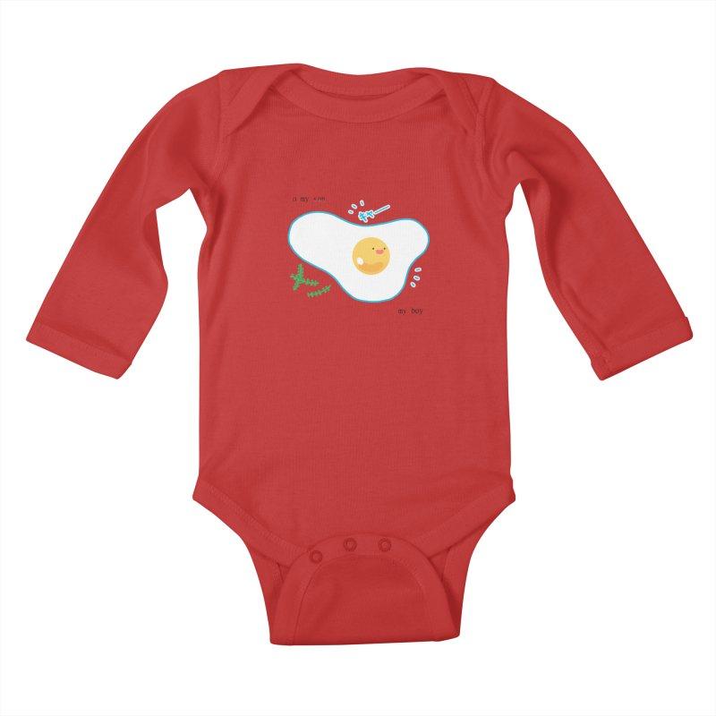 tamago-kun Kids Baby Longsleeve Bodysuit by Hey there, Waterbear!