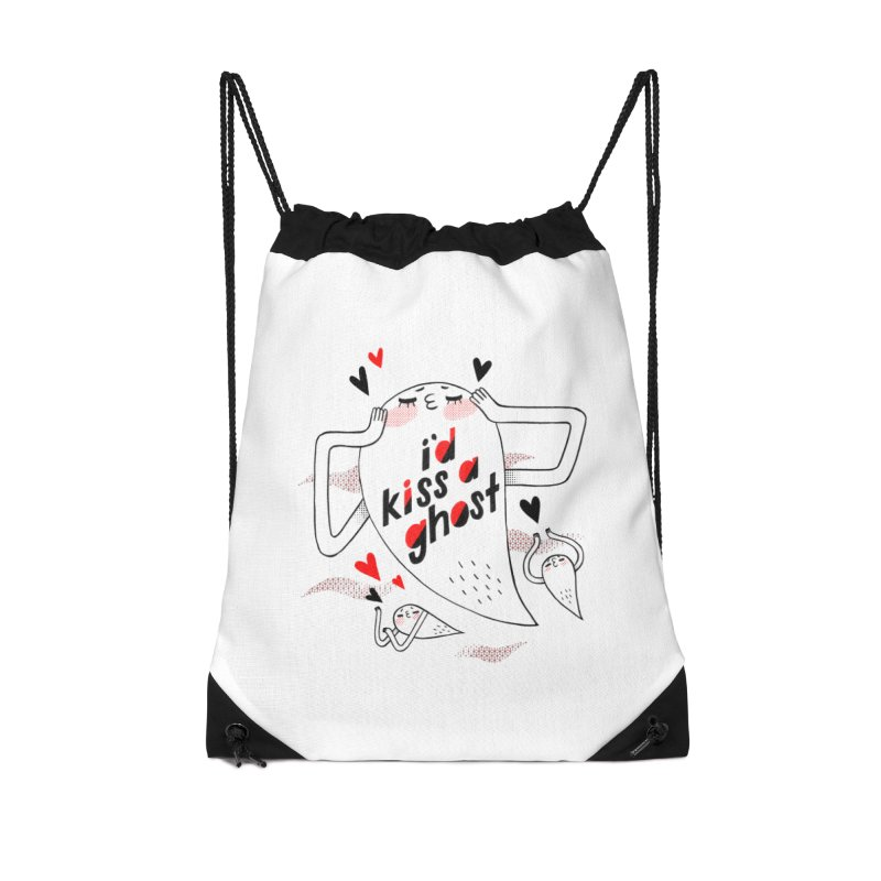 Ghost Kisser Accessories Drawstring Bag Bag by Hey there, Waterbear!