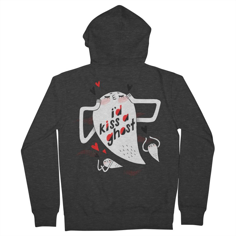 Ghost Kisser Men's French Terry Zip-Up Hoody by Hey there, Waterbear!