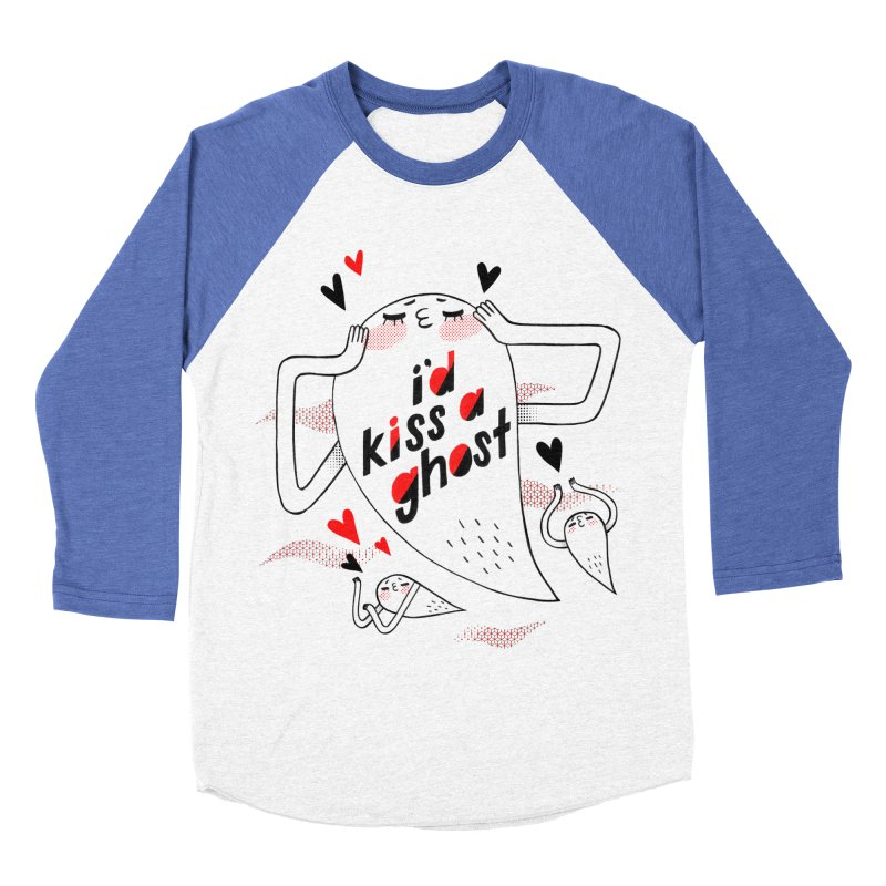 Ghost Kisser Men's Baseball Triblend T-Shirt by Hey there, Waterbear!
