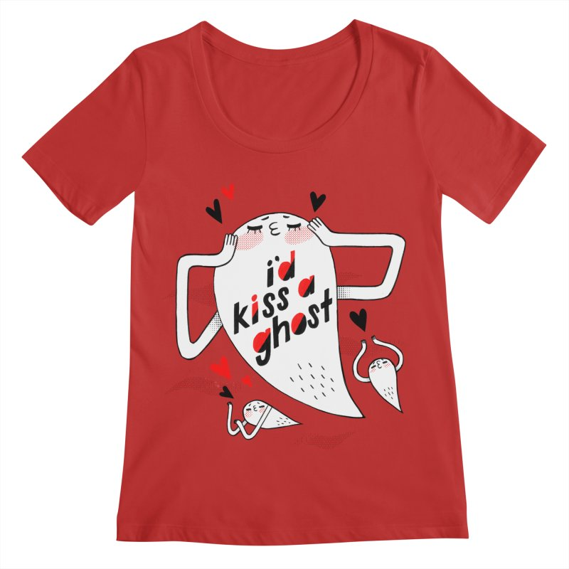 Ghost Kisser Women's Regular Scoop Neck by Hey there, Waterbear!