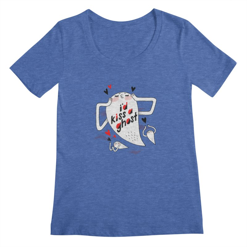 Ghost Kisser Women's Scoopneck by Hey there, Waterbear!