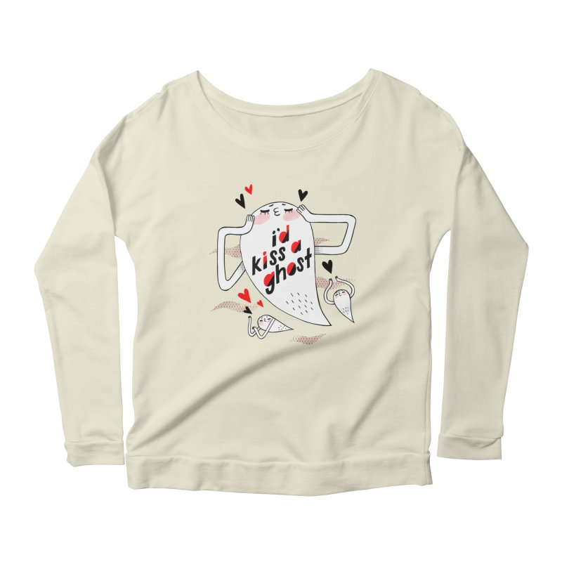 Ghost Kisser Women's Scoop Neck Longsleeve T-Shirt by Hey there, Waterbear!