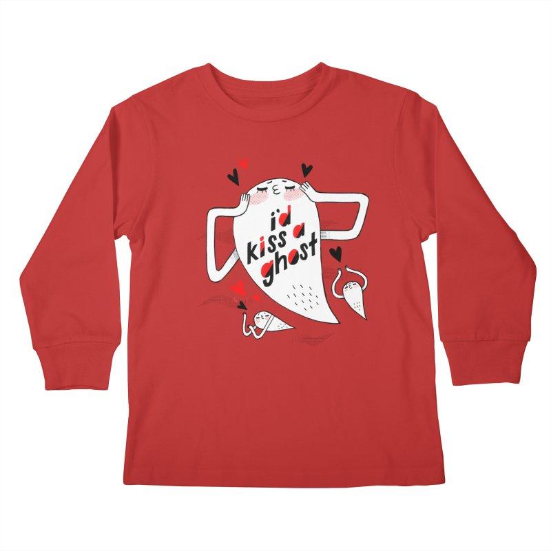 Ghost Kisser Kids Longsleeve T-Shirt by Hey there, Waterbear!
