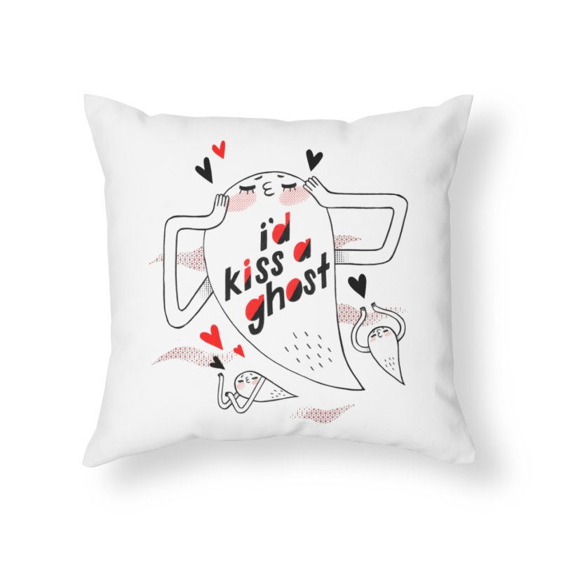 Ghost Kisser Home Throw Pillow by Hey there, Waterbear!