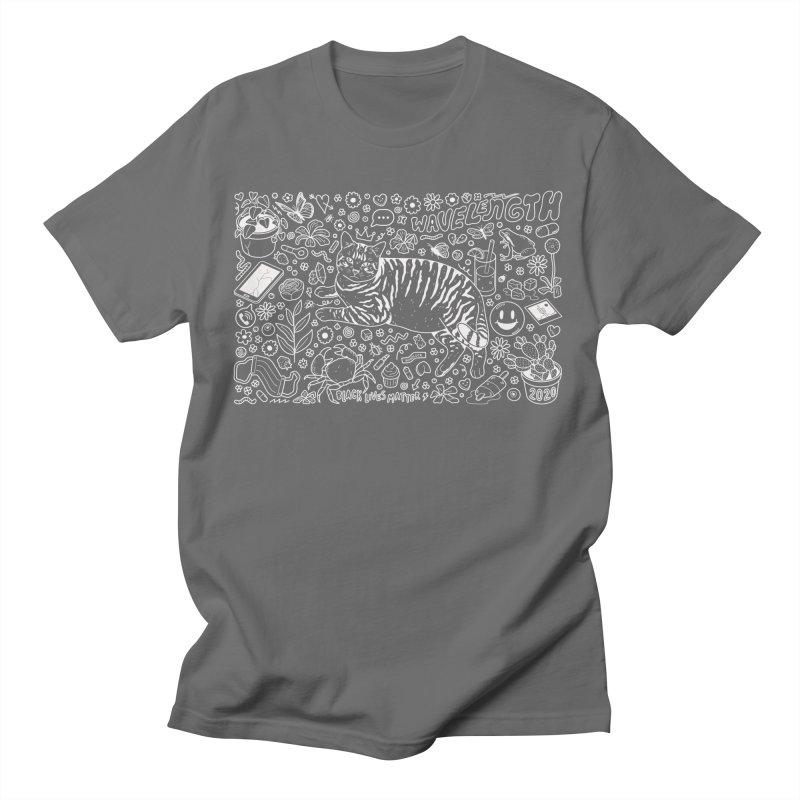 Wavelength 20th Anniversary Design - White Outline Men's T-Shirt by Wavelength Music's Artist Shop