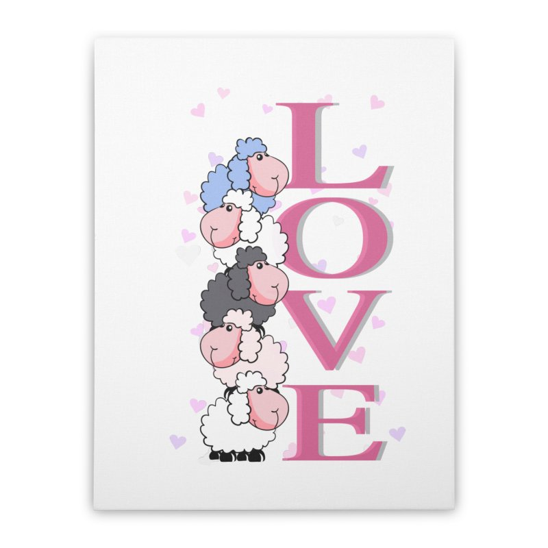 Love Sheeps Home Stretched Canvas by WaWaTees Shop
