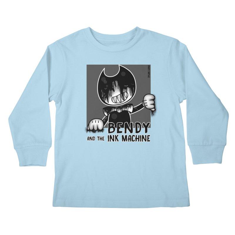 Evil Bendy on the Window Kids Longsleeve T-Shirt by WaWaTees Shop