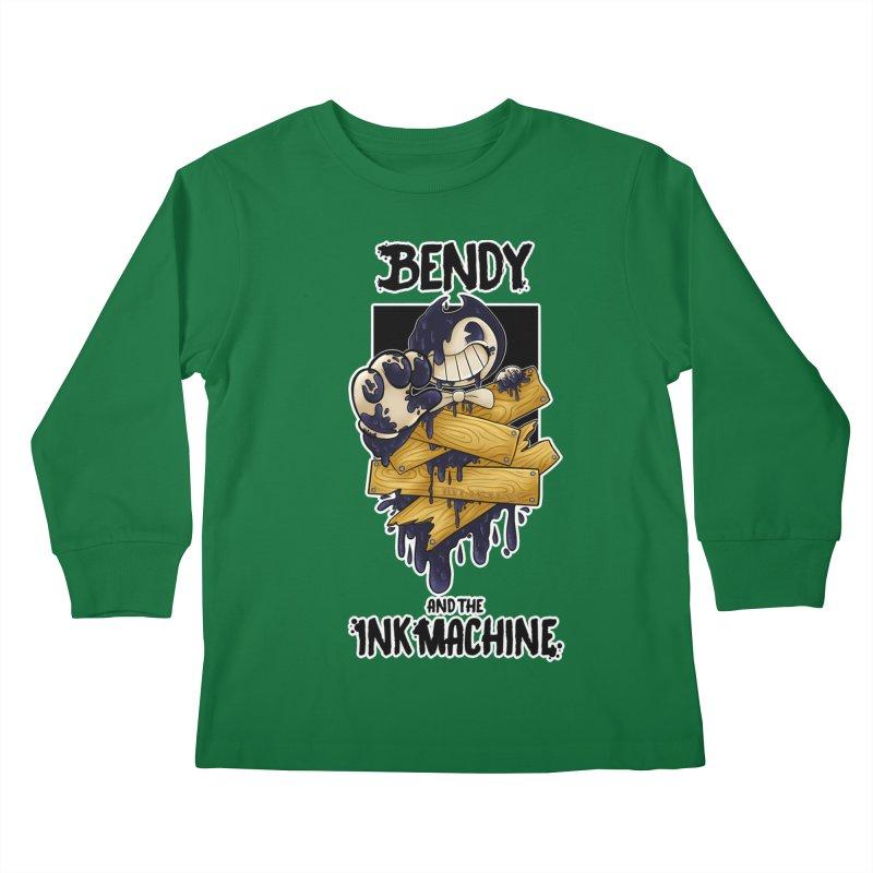 Wooden Bendy Kids Longsleeve T-Shirt by WaWaTees Shop