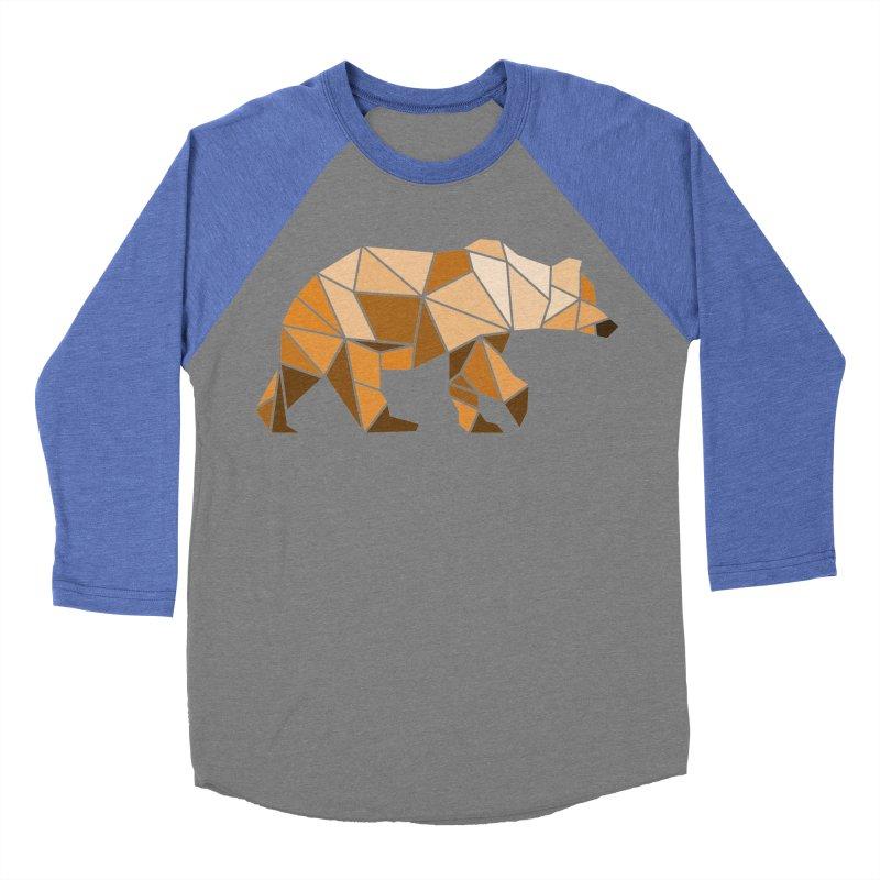 Geometric Grizzly Men's Baseball Triblend T-Shirt by WaWaTees Shop