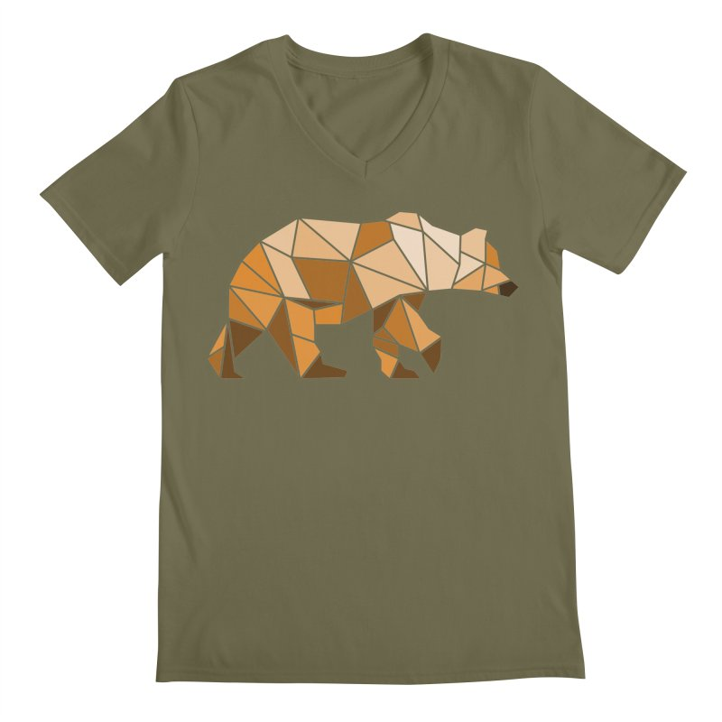 Geometric Grizzly Men's V-Neck by WaWaTees Shop