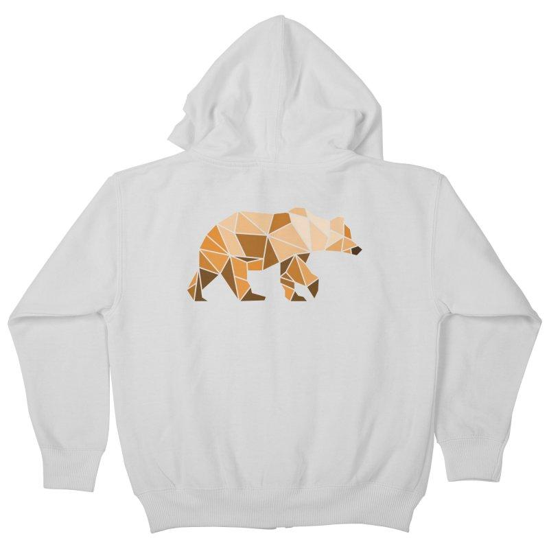 Geometric Grizzly Kids Zip-Up Hoody by WaWaTees Shop