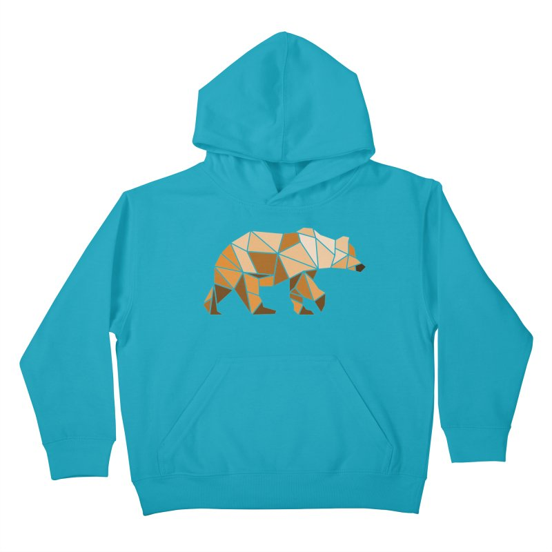 Geometric Grizzly Kids Pullover Hoody by WaWaTees Shop