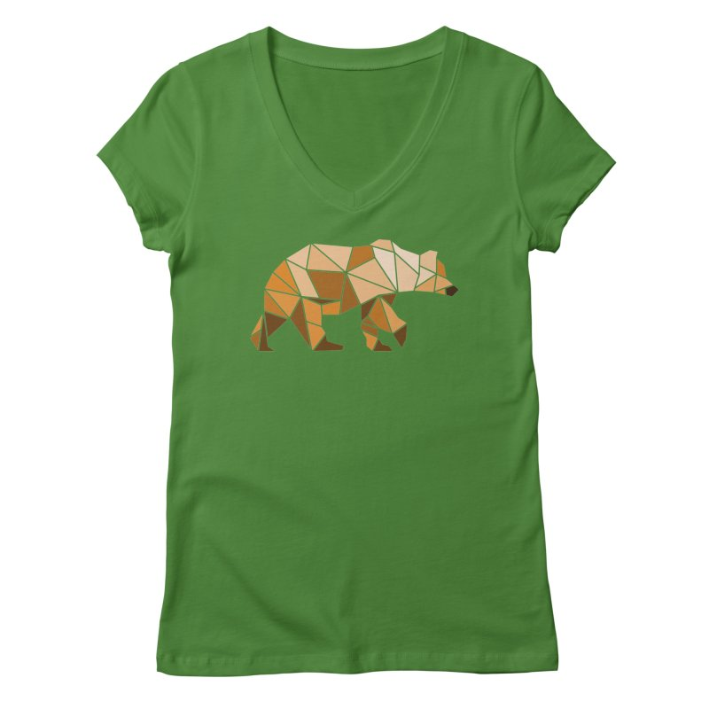 Geometric Grizzly Women's V-Neck by WaWaTees Shop